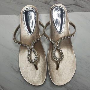 Gianni Bini Gold Jeweled Heeled Sandals Size 8.5